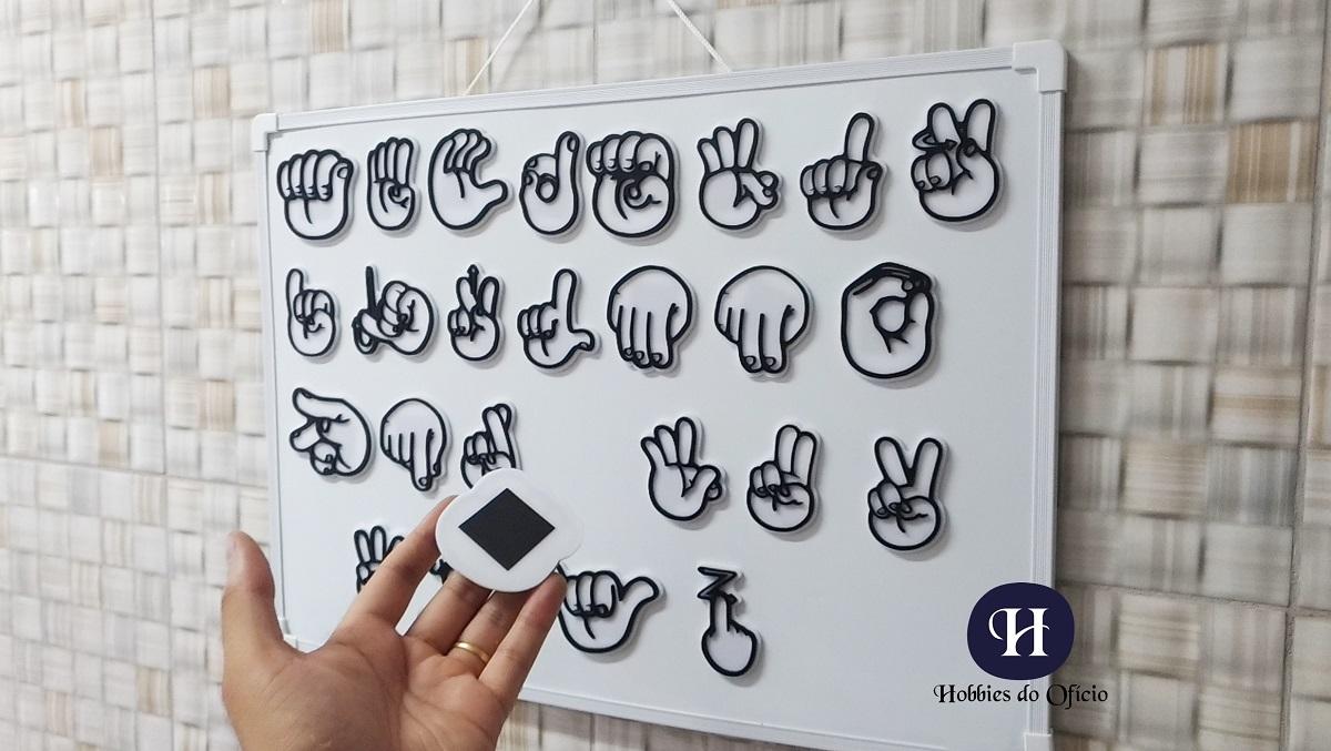 Alfabeto Completo De Acrílico Preto E Branco Em Libras Com Imã E Lousa